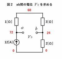 電気回路計算の問題です。 これはテブナンの定理を利用して電流を求める途中なのですが、赤字で書かれている電圧が求まる理由、途中式を教えてください。 よろしくお願いいたします。