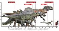 ジュラシックパークのスピノってティラノより小さいのですか?3に出てた子供ティラノよりは大きいですが、レクシィより小さいです。 けど恐竜の図鑑でティラノ13メートル、スピノ18メートルって書いてました。