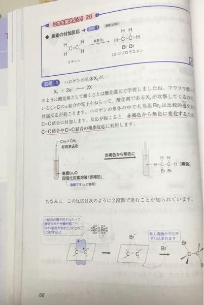 高校有機化学の質問です。 写真のページに「ハロゲンの単体の中でも臭素は比較的速やかに付加します。」とあります。 これはなぜなのでしょうか? 高校化学の範囲内で教えていただきたいです。 この質問の答えが大学の範囲内でしたら、その旨と簡単な説明をお願いします。 よろしくお願いします。