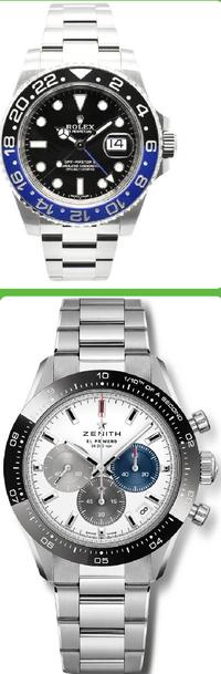 上の画像はロレックスGMTマスター2で 下の画像はゼニス 新型クロノマスタースポーツです。 どちらの腕時計がかっこいいですか? 理由も教えてください! 500コイン差し上げます