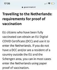 近々、母親が南米の母国に帰るのですが、オランダで乗り継ぎをしないといけなくて、アムステルダムで20時間待機との事なので、ホテル一泊する予定です。 *トランジットホテルは満室です。 トランジットホテルではないので、入国の手続きになるようなのですが、 オランダは今ワクチン接種者はpcr検査は免除されるみたいで できれば日本で発行されたワクチンパスポートで入国したいです でもネットで見る限...