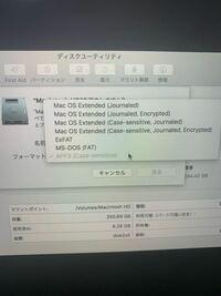 MacBookの初期化?でやっていてMacintosh HDを削除しようといてるんですが消去しようとするとこれのどれを選べばいいんですか?