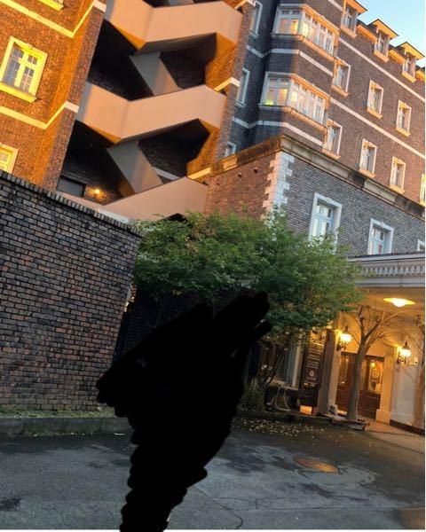 このホテルの名前が知りたいです。 東京都のどっかだと思うのですが、外装だけでわかる方いらっしゃいますか? ※ちなみに真ん中の黒く塗りつぶされてるところは人です。