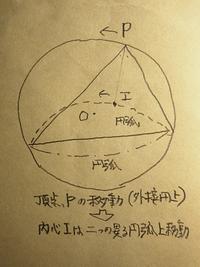 三角形の頂点が外接円に沿って一周するとき、内心は二種の異なる円弧上を通って戻る。証明をしてください。