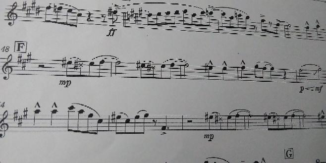 シングシングシング の アルトサックス1の楽譜です⤵︎ ︎ ×があるところはどのように吹けばいいのでしょうか??