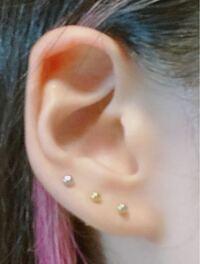 この耳の形で軟骨にピアスをあけるならどの位置がバランス良く可愛くなるでしょうか?? ちなみに反対はロブ、インダス、ルークがあいてます。
