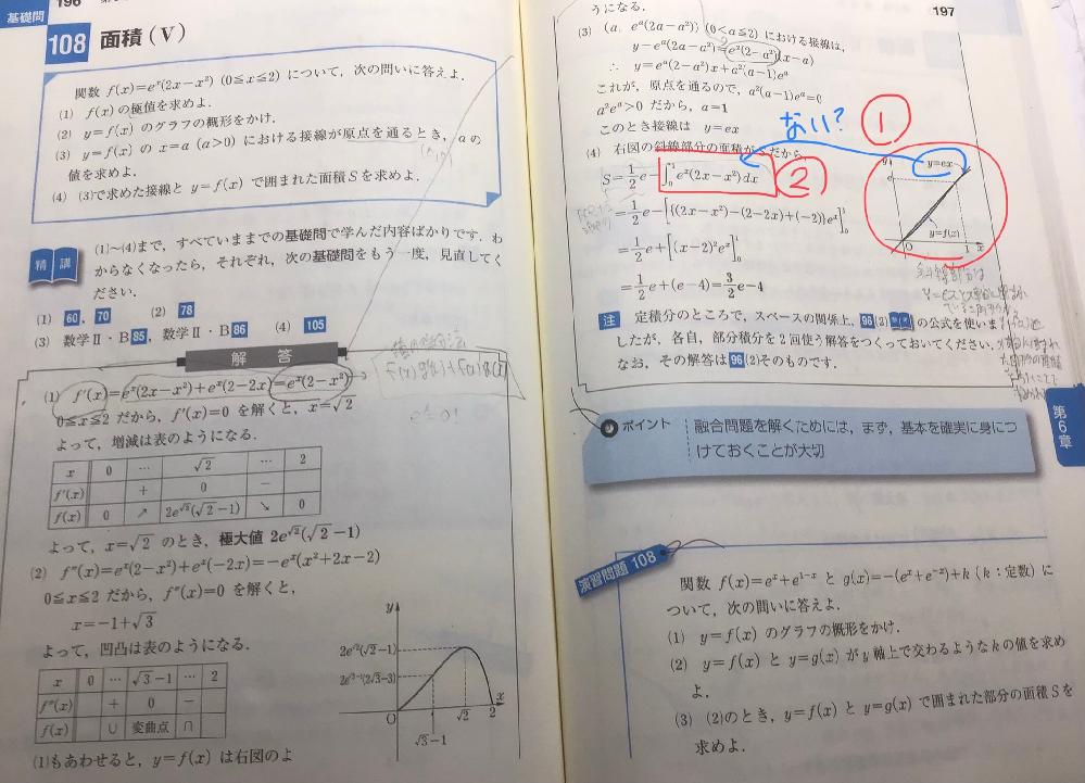 数学Ⅲ、積分の質問です。 ①(4)の問題をみて、このグラフを書くことができません。グラフを書く上でのコツを教えてください。 ②積分の面積は上(接線)−下(関数)がルールだと思うのですがなぜ接線の部分は表示されていないのですか。教えてください。 よろしくお願いします。