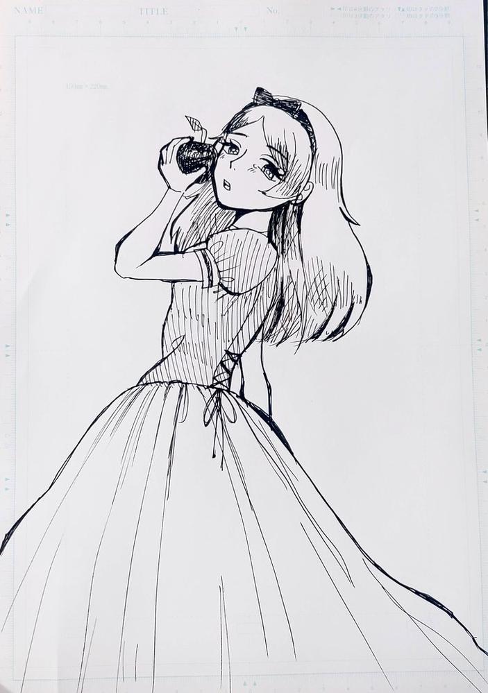 林檎を食べようとする少女を描きました 感想お願い致しますm(_ _)m