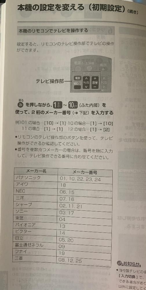 Panasonicのブルーレイディスクレコーダー ブルーレイディーガ DMR-BZT720を頂きました 自宅のテレビはオリオンを使っていますが ブルーレイのリモコンでオリオンのテレビ操作は 出来ないのでしょうか?説明書を読んでも オリオンのメーカーは無いので無理ですか?