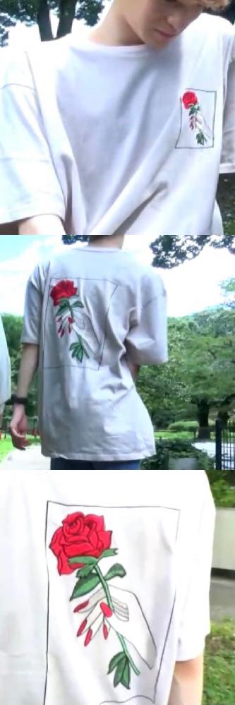 添付写真のTシャツがどこのブランドのものかお分かりの方がいらっしゃいましたら教えて欲しいです。 バックプリントと左胸のところに薔薇のイラストがあります。 宜しくお願いいたします。