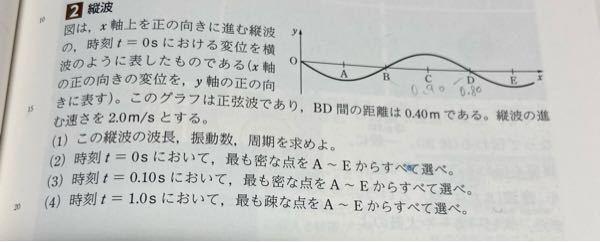 これの(4)なんですけど、t=1.0sのグラフの書き方が分からないので教えて欲しいです、