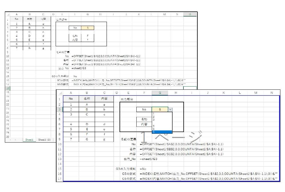 """Excelで[OFFSET,COUNTA,MATCH]関数で可変参照のリストから値を別シートに取り出すものを作成しています。 想定している動作としては 画像左上のようなリストがあり、内容は随時追加されます。 これを出力シートでNoを選択すると、名称や内容が自動で出力されるものです。 現在、名前の定義で [No,名称,内容]の3つをOFFSETとCOUNTAによって範囲参照しています。 Noは{=OFFSET(Sheet1!$A$2,0,0,COUNTA(Sheet1!$A:$A)-1,1)} 名称と内容は列指定を変えて入力しています。 出力シートのNoは入力規制で{=No}を指定してリストから選択できるようにしています。 出力シートの名称には、出力シートのNoを{出力_No}と名前の定義して {=INDEX(名称,MATCH(出力_No,OFFSET(Sheet1!$A$2,0,0,COUNTA(Sheet1!$A:$A)-1,1),0))&""""""""} で取り出しています。 内容も同様です。 ■解決したいこと■ 今後リストを他の人が追加していく際に 画像右下にあるように、途中に空白行を入れられてしまった場合 出力シートのNo選択が空白行の数だけ減ってしまう事象が出ています。 これを防ぐことは出来るでしょうか。 ※空白行は入ってしまうという前提でお願い致します。 ※複数の空白行が断続的に入る場合もあるかもしれません。"""