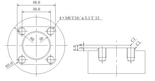 MC(マシニングセンタ)での加工について 図のような金属加工を考えています。面取り(C1)を2か所したいのですが、どのようなプログラムを組んだらいいでしょうか。面取り部分だけで構いませんので、よろしくお願いします。
