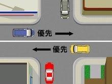 自分が赤い車だとします。 この場合だと一時停止して、車の通行を邪魔したら行けませんが。 仮に、青と黄色の車がいない場合、この交差点を直進する場合は、徐行しながら安全確認をして、車が来てなければ...