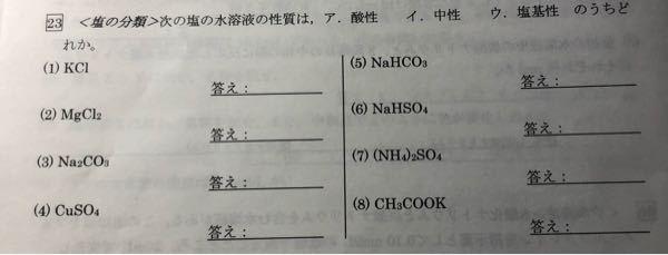 至急!コイン差し上げます。 化学基礎の塩の分類について教えてください!