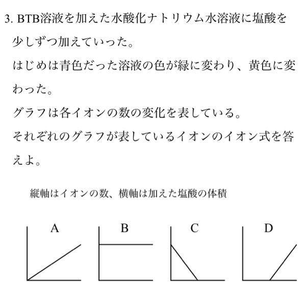中学理科 中和の問題です。 A)Cl-(B)Na+(C)OH-(D)H+ なのですが、AとBがなぜなのかわかりません。 理科苦手なので、詳しく教えて欲しいです。 よろしくお願い致します。