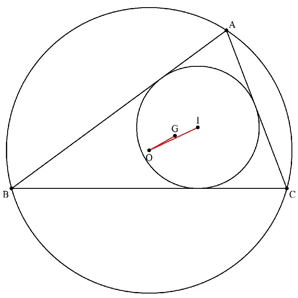 △ABCの外接円Oの半径を R=1とします。 (一般性を失わない) 重心をG、内接円Iの半径をrとします。 r≧(√3-1)/2 のとき、 ∠IOG≦15° を証明してください。 (創作問題105再掲)