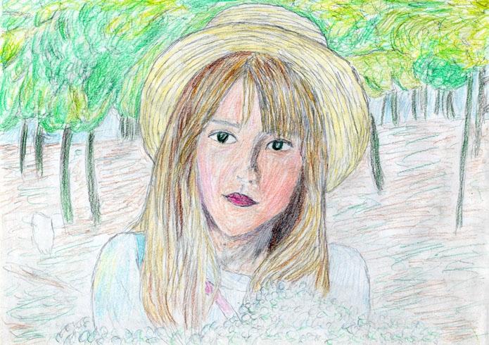 この絵の注意点をご指摘ください。 また、質問なのですが、この女の子は日本人を描いたのに 外人みたいに見えるのは何故ですか?