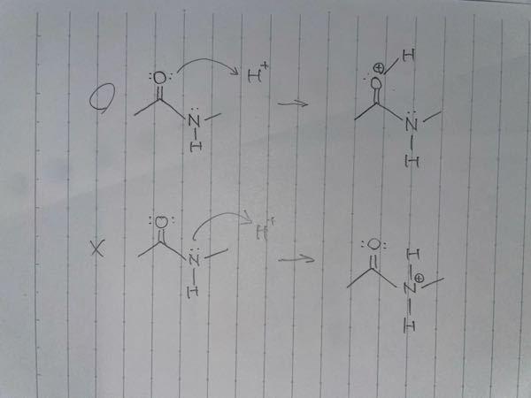 Lewis塩基とプロトンの反応についての質問です。 下に書いたように反応しないのは何故でしょうか。