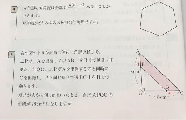 中3数学です。5番と6番の解き方を教えてください。
