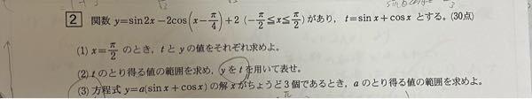 高校数学の三角関数についての問題です。 教えてください。