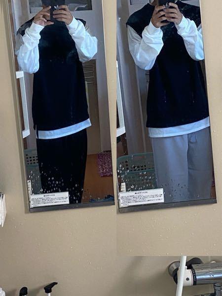至急お願いします!自分は今高校せいなんですけどデートで着ていく服で悩んでます。 黒のズボンと白のズボンどっちがいいと思いますか?