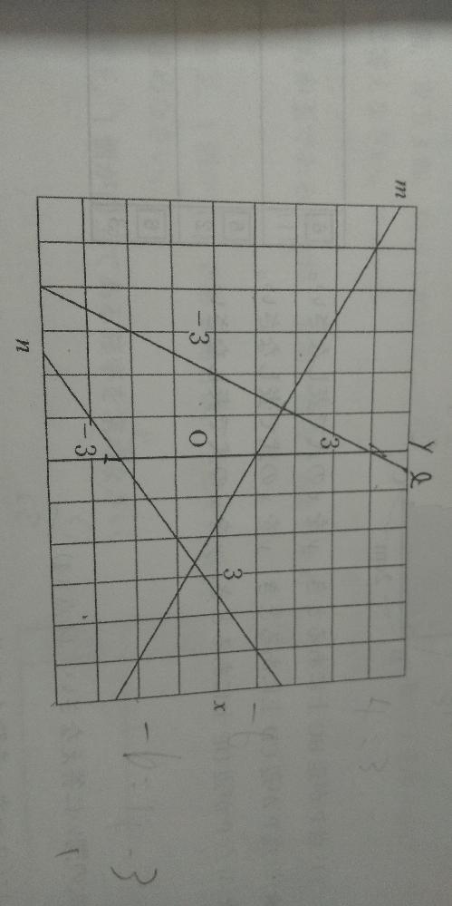 (1) 直線l の式を求めなさい。 (2) 直線mの式を求めなさい。 (3) 直線 nの式を求めなさい。 (4) 直線l, m の交点の座標を求めなさい。 よろしくおねがいします