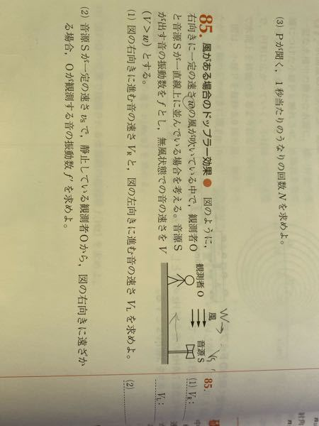 この問題の(2)の回答に音源Sの速度が−vsと書いてあるのですが、なぜ−がつくのですか?