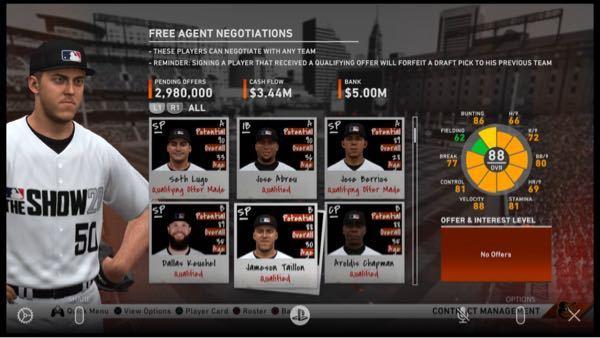 MLB The Show 20について質問です。 シーズンオフのFA選手一覧の画面なのですがQualifying offer made とQualified、さらにそのどちらも書いていない選手が...