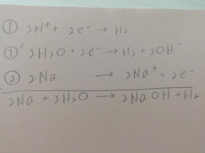 化学基礎でナトリウムと冷水の反応の化学反応式の解法でこのようになるのは何故ですか?特になぜ①から①´になるのか分からないです。解説お願いします!