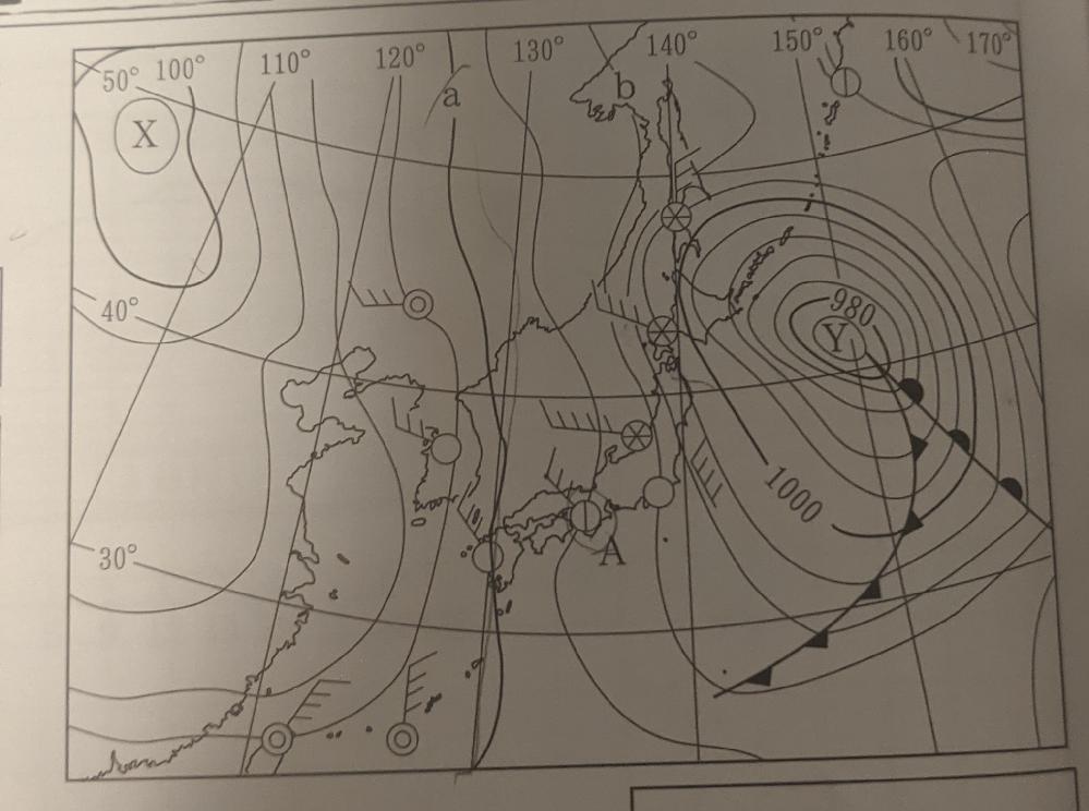 この気象観測の問題の解き方を教えて下さい。(中2理科) 図で、aとbは、それぞれ何hpaを示していますか? a 1020 b 1012 よろしくお願いいたします。