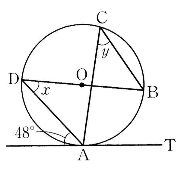 この図のxとyの大きさの求め方を教えてください。