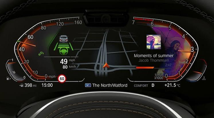 BMW218dグランクーペについて教えて下さい。画像のように、メディア情報をメーターパネルに表示させるにはどのような設定が必要でしょうか?