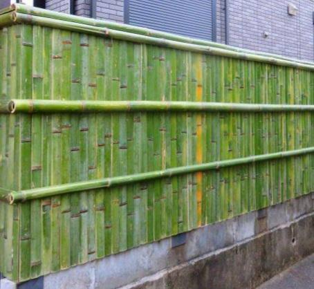 竹垣の作り方について教えてください。 丸いまんまの竹で、写真のような竹垣を作りたいのですが節は抜いた方がいいですか?竹材のした処理や組み方を詳しく教えてください。 長さ8m 高さ1.8m 太さは2寸~3寸です。 詳しい方どうぞよろしくお願いいたします。