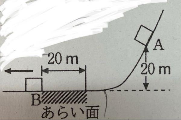 なめらかな斜面上の高さ20mの点Aから質量 1.0kg の物体を初速度0m/sですべらせたところ,水平面上の あらい面を通過した後,なめらかな面上の点Bに達した。 あらい面の距離は20mで,物体との間の動摩擦係数は 0.50である。重力加速度の大きさを9.8m/s2とする。 点Bでの物体の速さを求めよ。が分かりません。 わたしは、動摩擦力を受けたあとの点Bを、 1/2mv^2。 同摩擦力がした仕事の大きさを、 -98。 点Aの位置エネルギーを、 mgh。 で表し、 1/2mv^2-mgh=-98という式を立てたのですがどうも上手く行きません。やり方を教えてください。