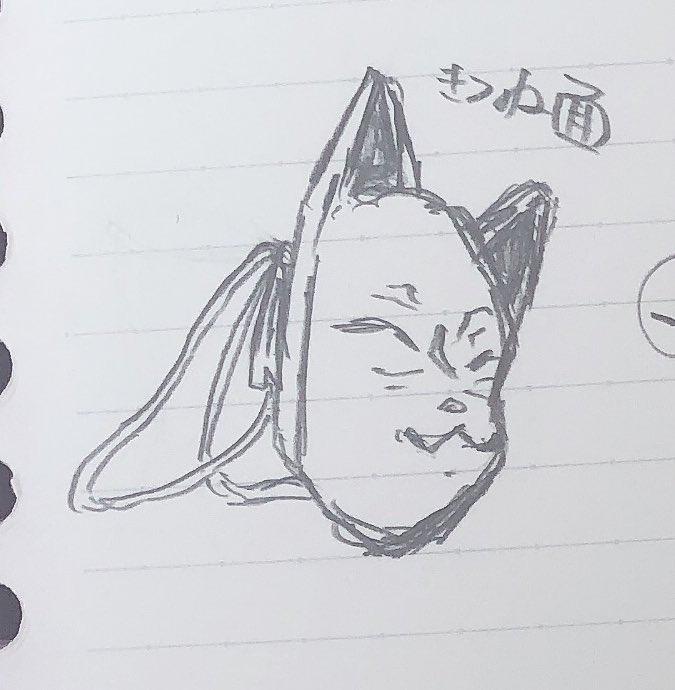 狐面のイラストです。耳が曲がっているように見えるのですが気のせいですか?
