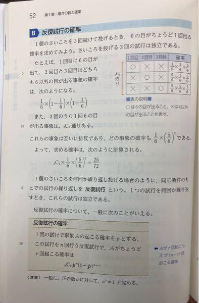 高校数学 数Aの確率の質問です 反復試行がわかりません 写真の「また、3回のうち1回6の目が出る事象は、3C1通りある」のところが理解できないです 授業ノートを見返すと { ○ × × × ○ × × × ○ 3!/2!1! 通り みたいなメモをしてたのですが、何を表しているのかわからないです 簡単に解説して欲しいです 回答よろしくお願いします