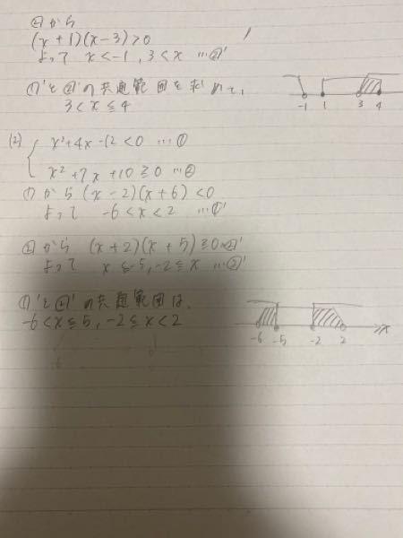 数学Iの問題について質問です。 (2)で、答えの共通範囲が2つ出ました。 ところがクァンダというアプリでは共通範囲が1つだけでした。 私の解はあっているのでしょうか? 字が汚くてすみませんが教えてもらうと助かります。