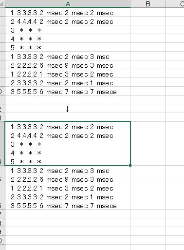 複数行を1つのセルにまとめるマクロか関数に関してご教授いただきたいです。 具体的には、画像のようにtracerouteの結果部分が大量にあり、それぞれが1-5行で表示されています。これを下矢印側のように1セルにまとめたいです。テキストから手作業で打ち込むことも可能ですが、数千回の結果があるので、一気に実行できる方法があれば教えてほしいです。よろしくお願いいたします。