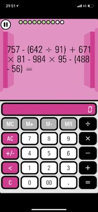 至急回答が欲しいです。 この電卓での計算のアプリなのですが これはどう電卓で計算したらいいでしょうか? ()から優先で×÷を優先して計算するのはわかるのですが この電卓のアプリ()の計算など ×÷が入ってくる計算の場合ややこしくてプラスならM+を押して マイナスならM-を押して計算しなければなりません。 ですが この画像の通り (642÷91)から優先するべきなのは分かるのですが そ...