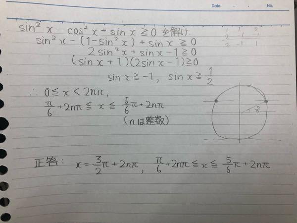 【 数学・三角不等式(三角関数) 】 三角関数がどの分野かは分かりませんが、下の画像の三角不等式が解けません。 なぜ、解答と略解に書いてあった正答が違うのか、又、解き方を教えてください。 よろしくお願いします。