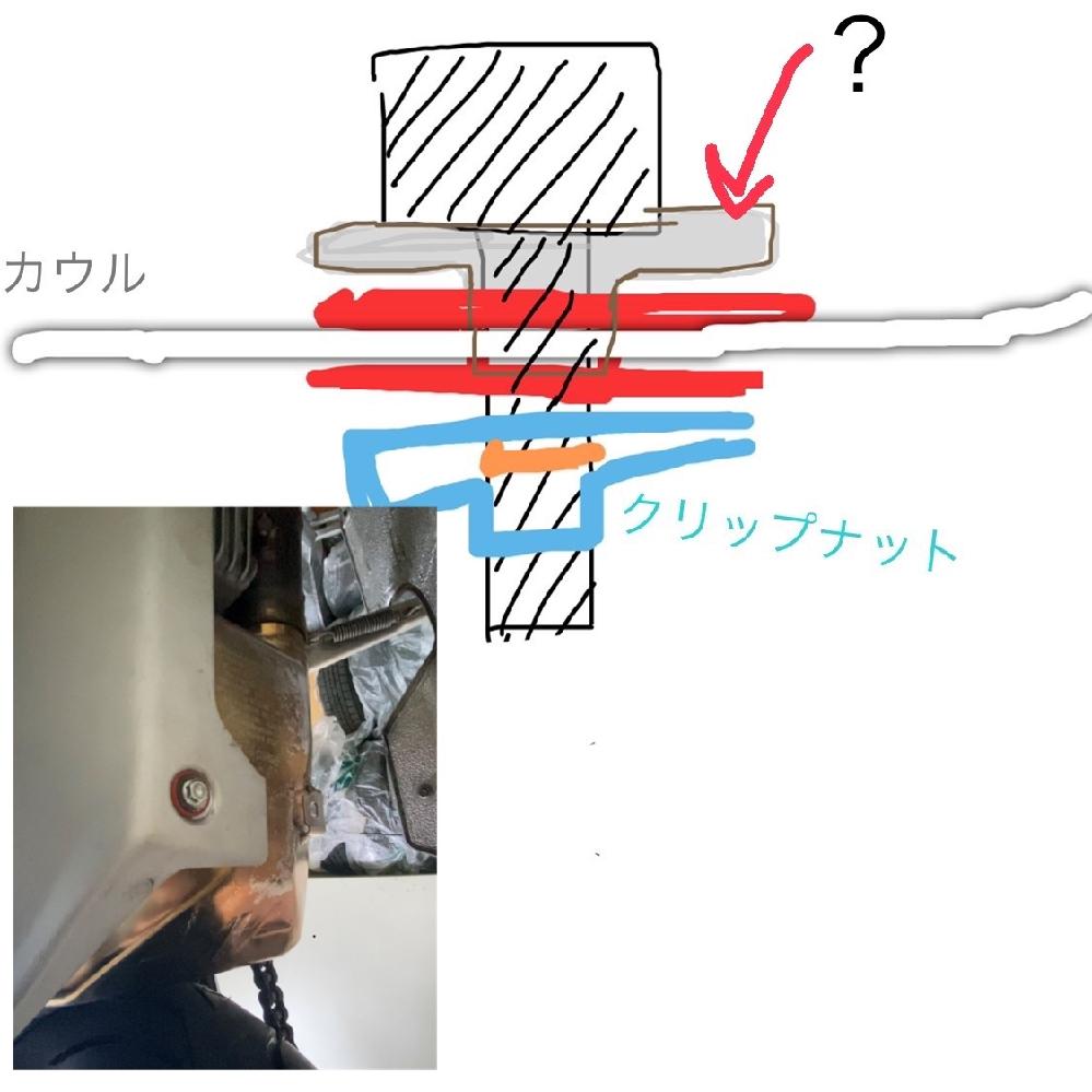 mvアグスタf3 675 マフラーとカウルを止めるボルトが折れてしまいました。また他パーツの錆も酷かったので交換しようと思ってますが、名称が分からない部品があったので教えて頂きたいです。 フランジ付ボルト→???→ゴム→カウル→ゴム→クリップナット→マフラー部分 という感じで付いていました。(画像参照) フランジ付きボルト→ゴム→カウルの順番ですとボルトが埋まってしまいます ホームセンターか専門店、ネットで購入したいのですが、教えてください また別部品で代用できれば、代用したいと思ってます。