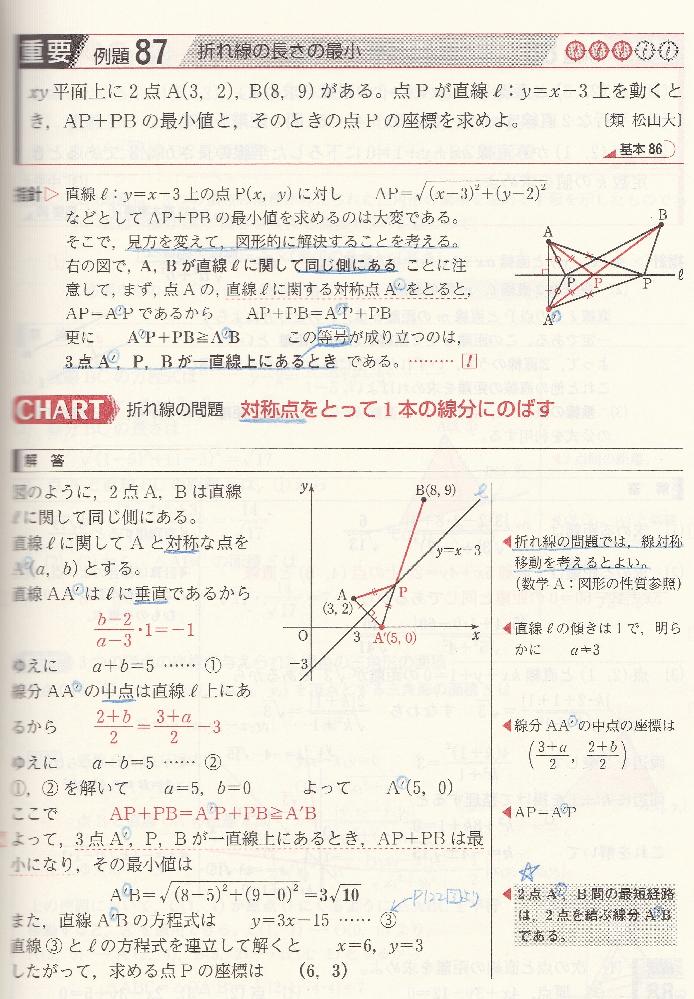 折れ線の長さの縮小についてお尋ねします。 質問1: 指針の中に、A'P+PB≧A'B とあります。 図の中には△A'PBがありますが、これは 三角形の2辺の長さの和は、他の1辺の長さより大きい という性質を利用しているのでしょうか。 質問2: 解説中段あたりに 2+b/2=(3+a/2)-3 とありますが、どのように導いたのでしょうか。