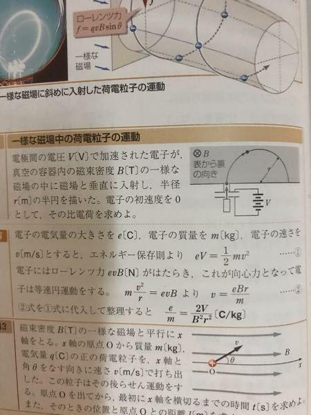 一様な磁場中の荷電粒子の運動 問題文最後で電子の初速度を0とする。とありますが、 それならば電子の速さをvと置いているのは何なんでしょうか?初速度0と電子の速さvの関係が掴めません、ご教示お願いします。