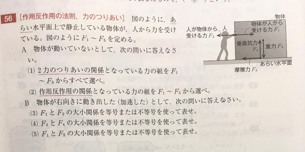 はじめまして☺︎ 高1 物理基礎 (1)番の問題です!なんでF1とF2では釣り合いの関係になっていないのでしょうか?