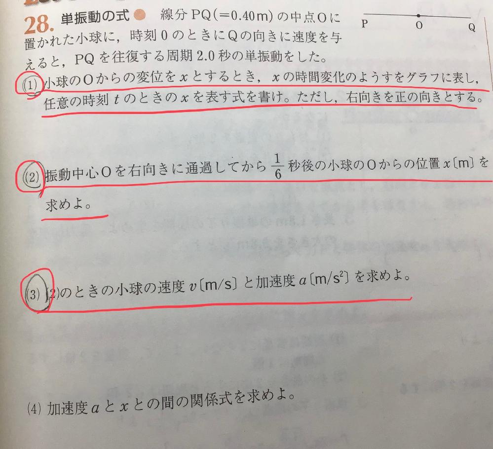 高校物理、単振動の質問です。 (1)、(2)、(3)の解き方が分かりません。詳しく教えてください。よろしくお願いします。
