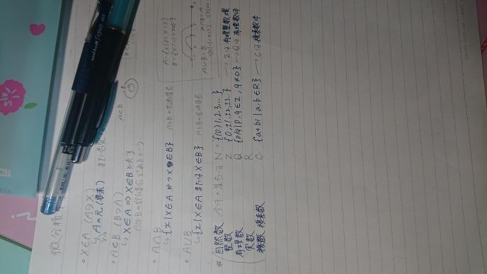 数学の質問です。AとBの共通集合、合併集合の隣に書いてある青い字、また、Q.Cの隣の青い字 { ○○l~ε~}みたいなのあると思うんですが ○○のところはどういう意味で書かれているのでしょうか?全くわからなくて困ってるので誰かお願いします。