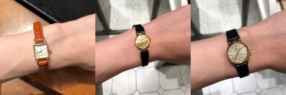 オメガ アンティーク 腕時計の購入を検討しています。30代女性です。 3つのうちどれがオススメですか? 茶色ベルト 99000円 金メッキ フェイス金ダイヤ付き 170000円 18金 ノーマ...