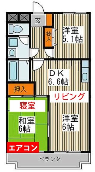 エアコンの取り付け位置について質問です。 賃貸で数年間入居予定の物件ですが、下記画像の様に和室にエアコンが設置されています。 私としては和室を寝室としたいのですが、リビングからダイニングまで冷暖房を効かせるには効率が悪い気がします。 エアコンの能力は、未確認ですが洋室側への移設費用と現状のままで電気代を払うのでは、どちらが得でしょうか?サーキュレーターは手持ちがあるので併用しようと思っています。
