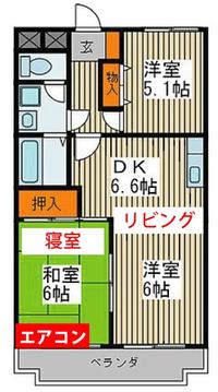 エアコンの取り付け位置について質問です。 賃貸で数年間入居予定の物件ですが、下記画像の様に和室にエアコンが設置されています。 私としては和室を寝室としたいのですが、リビングからダイニングまで冷暖房を効かせるには効率が悪い気がします。 エアコンの能力は、未確認ですが洋室側への移設費用と現状のままで電気代を払うのでは、どちらが得でしょうか?サーキュレーターは手持ちがあるので併用しようと思って...